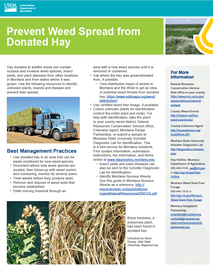 Prevent weed spread from donated hay